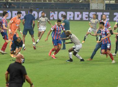 Jogadores do Ceará e Bahia entram em conflito após Tricolor conquistar a Copa do Nordeste