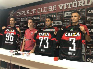 De uma só vez! Vitória apresenta Meli, Benítez e Bruno Gomes