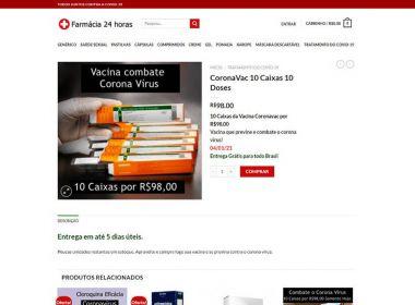 Procon alerta para venda de vacina falsa contra Covid pela internet após anúncio em site