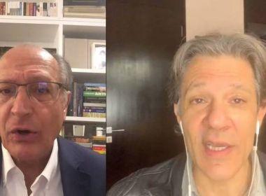 Haddad encontra Alckmin em evento virtual e sugere compromisso para o 2º turno