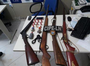 Castro Alves: Três são presos e quarto armas são apreendidas pela PM