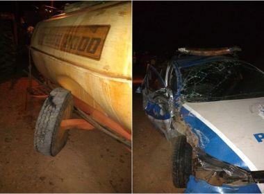 Livramento: Trator causa acidente entre viatura da polícia e duas motocicletas na BA-148