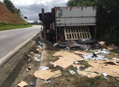 Jaguaquara: Carreta tomba e tem carga saqueada; acidente ocorreu em trecho de serra