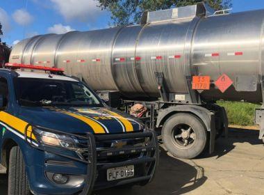 Vitória da Conquista: PRF apreende carreta de combustível com nota fiscal fraudada