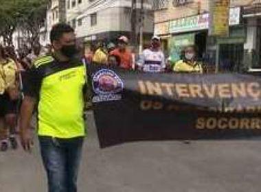 Itabuna: Rodoviários fazem manifestação e cobram volta de ônibus coletivos