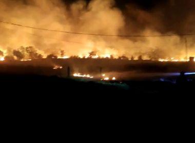 Guanambi: Fogo atinge área de vegetação e quase chega à granja com 1 mil porcos