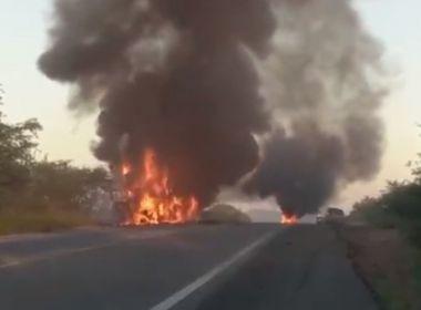 Riachão do Jacuípe: Caminhão com repolho e cenoura pega fogo na BR-324