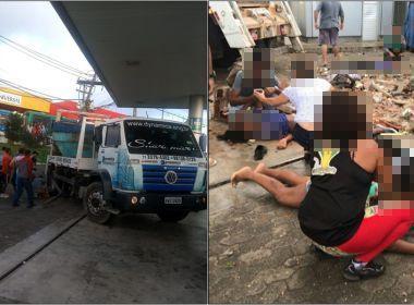 Caminhão desgovernado invade posto e atropela sete na Av. Aliomar Baleeiro; um morreu
