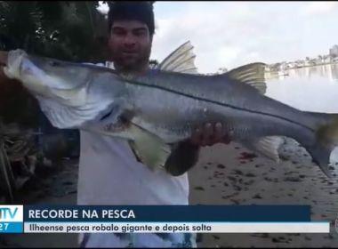 Ilhéus: Homem pesca robalo com mais de 1 metro e reclama recorde baiano