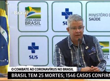 Brasil tem 1546 casos confirmados e 25 óbitos por coronavírus