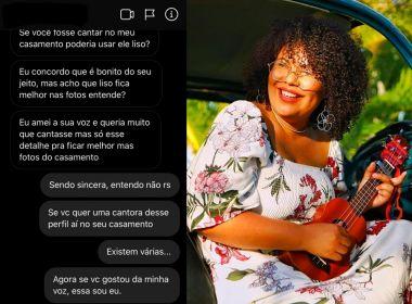 Noiva pede que cantora 'alise' cabelo para tocar em festa: 'Tudo tem que ser perfeito'