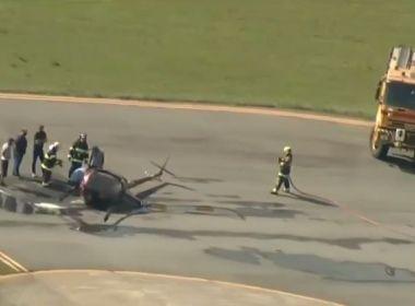 Helicóptero cai em aeroporto do Campo de Marte, zona norte de SP