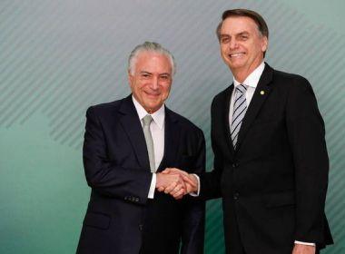 'Sinto que é coisa do passado', diz Temer sobre ataques de Bolsonaro ao STF
